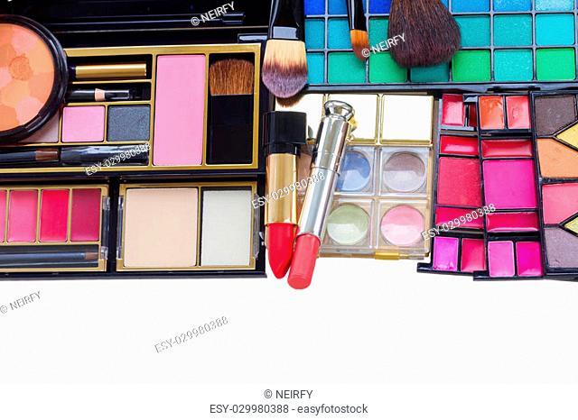 set of make up products border isolated over white background