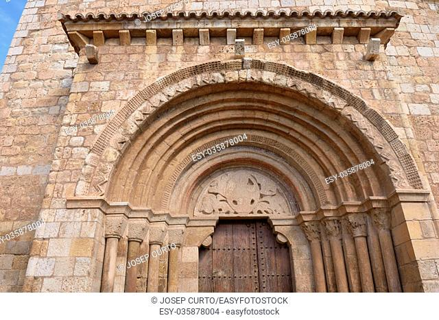 Detail of Romanesque portal of the church of San Miguel or San Valero (13th century), Daroca. Zaragoza province, Aragon, Spain (13th century)
