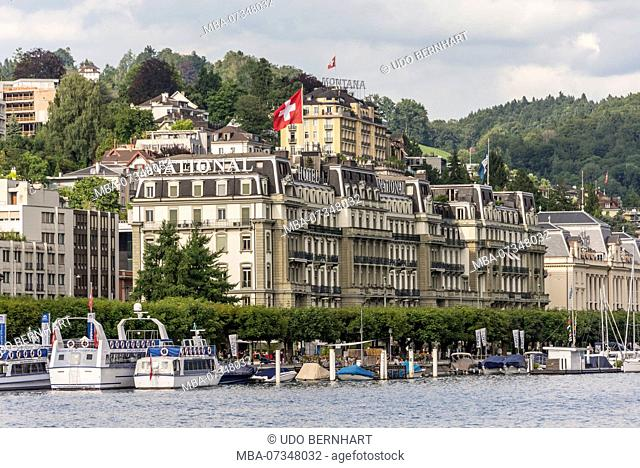 View on the northern shore with Hotel National, Lucerne, Lake Lucerne, Canton Lucerne, Switzerland