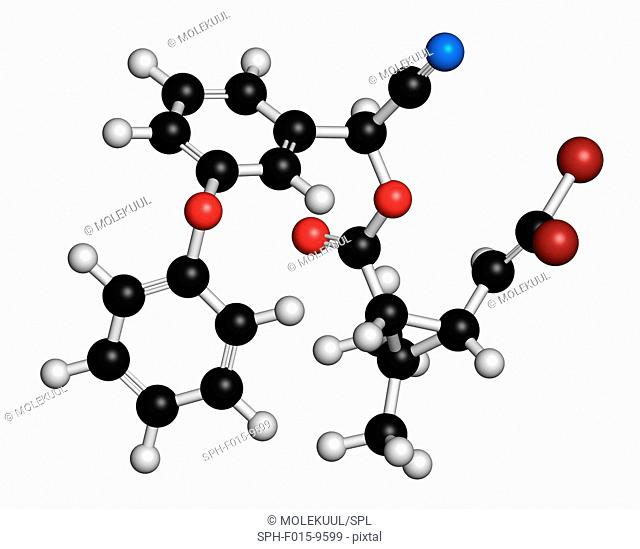 Deltamethrin insecticide molecule (synthetic pyrethroid). 3D rendering. Atoms are represented as spheres with conventional colour coding: hydrogen (white)