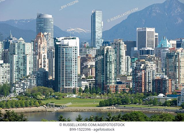 False Creek Skyline Downtown Vancouver To Coast Mountains British Columbia Canada