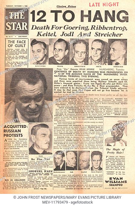 1946 The Star (London) front page Nazi leaders sentenced to death