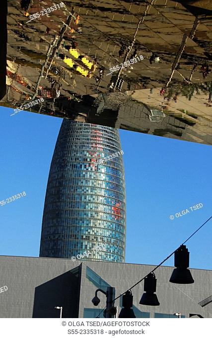 Torre Agbar and Els Encants Market. Barcelona, Catalonia, Spain