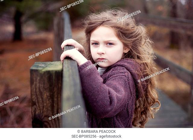 Portrait of girl (4-5) with long hair