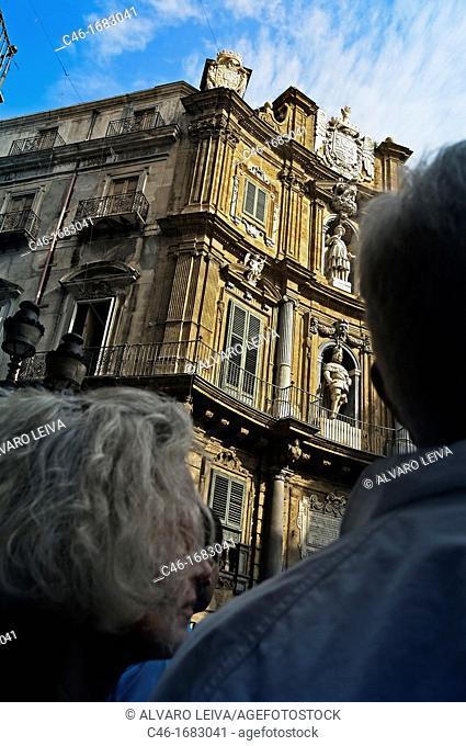 Quattro Canti« baroque building  Palermo  Sicily  Italy