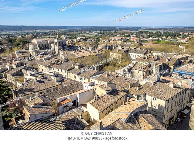 France, Gard, Uzes, Saint Etienne church and the roofs of the old city