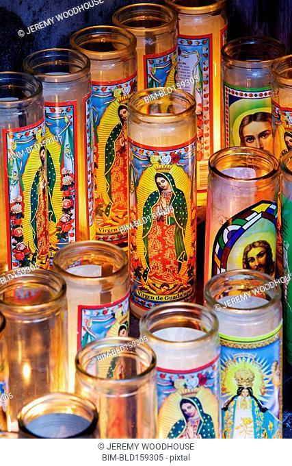 Close up of religious prayer candles