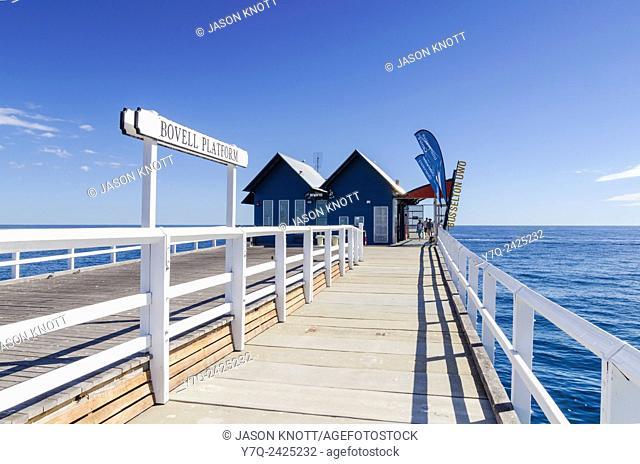 Train platform near Busselton Jetty Underwater Observatory at the end of the long jetty, Busselton, Western Australia, Australia
