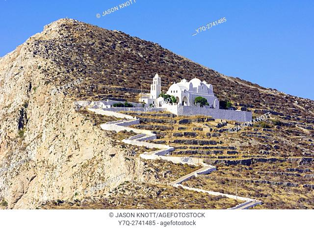 The steep zigzag path leading to the Church of Panagia, Folegandros, Cyclades, Greece