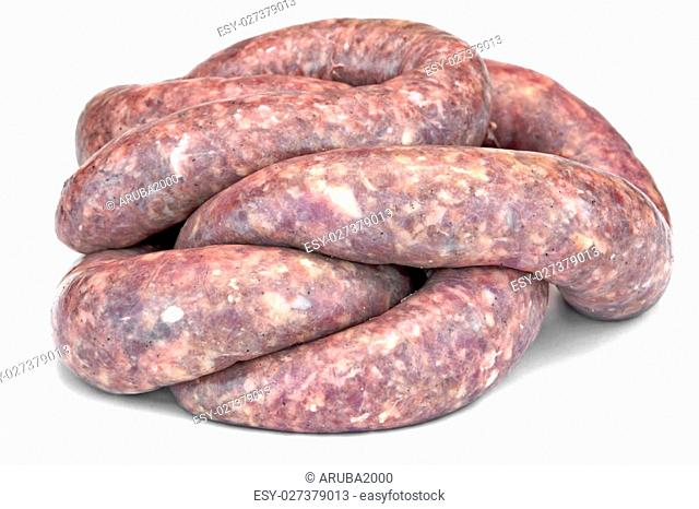 Some Fresh Raw Bratwurst In Natural Casing Isolated On White Background, Cookout Food, Close Up