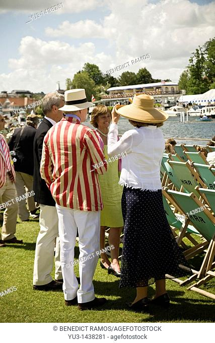 Spectators at the Henley Royal rowing regatta, Oxfordshire, UK