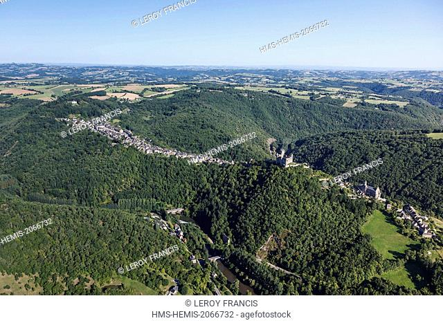 France, Aveyron, Najac, labelled Les Plus Beaux Villages de France (The Most beautiful Villages of France) (aerial view)