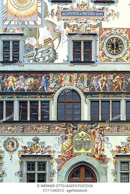 Germany, Lindau Bodensee, Lake Constance, Swabia, Bavaria, old city hall, renaissance, detail, facade, wall painting, frescoes