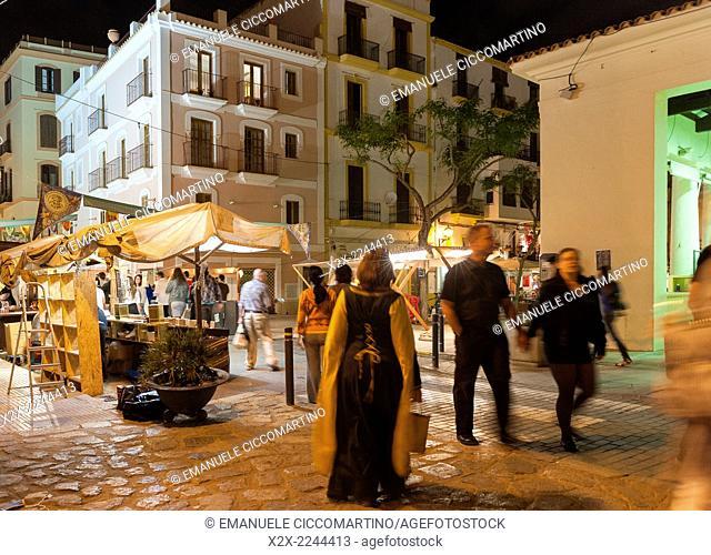 Street market, Medieval Party, Dalt Vila, Old Town, Ibiza, Balearic Islands, Spain, Mediterranean, Europe