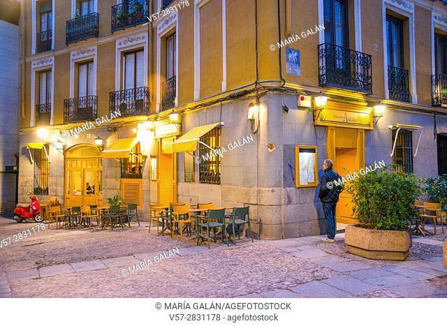 Facade of restaurant, night view. Conde street, Madrid, Spain