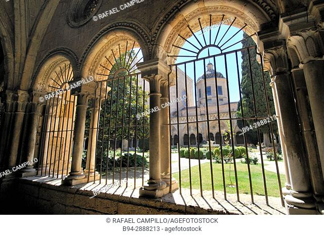 Cloister of Cathedral of Tarragona, Roman Catholic church in Tarragona, Catalonia, Spain. The edifice is located in a site previously occupied by a Roman temple...