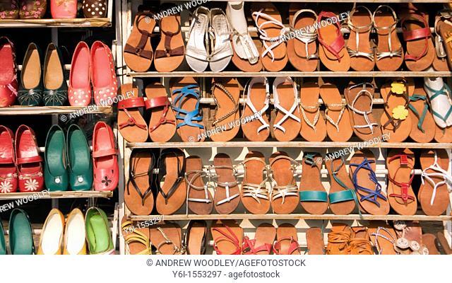 Shoe and sandal display shop historic Hoi An Vietnam