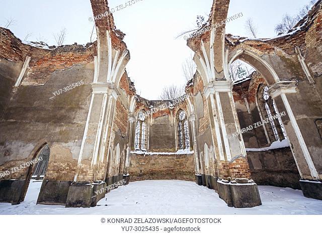 Ruins of the Church of Saint Anthony, destroyed during WW2 in Jalowka village, Podlaskie Voivodeship of Poland
