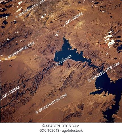 Both Las Vegas and Lake Mead—southern Nevada's two major tourist attractions—are partially included in this northwest-looking photograph