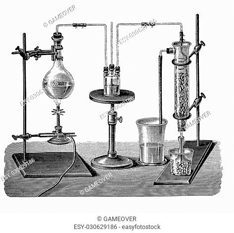 Vintage lab equipment for sulfur dioxide production. The gas is condensed to liquid form through a mixture of ice and salt