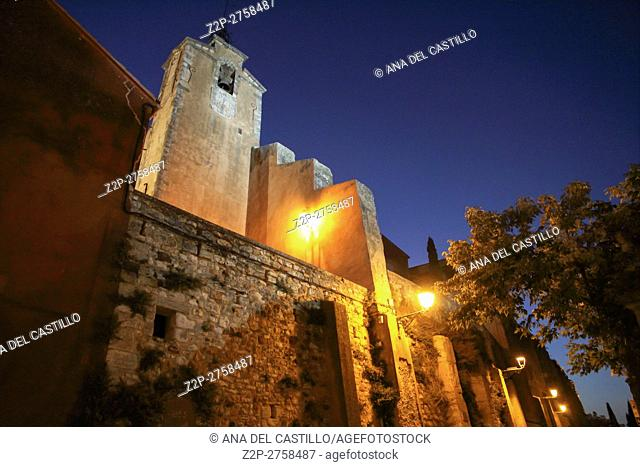 Church in Roussillon by night on September 5, 2013 in Provence France