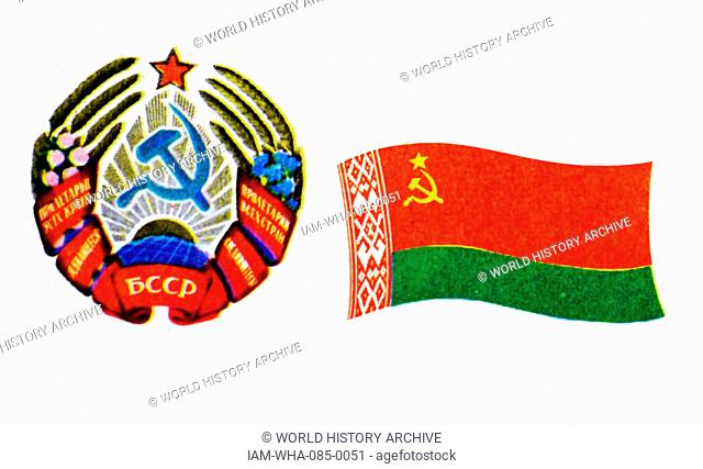 The flag of the Byelorussian Soviet Socialist Republic and Emblem. The Latvian Soviet Socialist Republic, established during World War II as a puppet state...