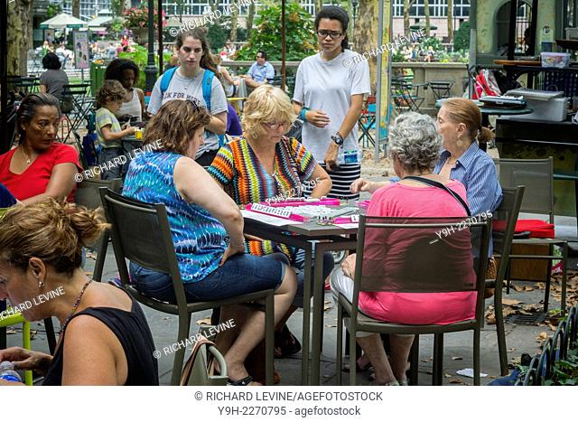 Mahjongg fans gather in Bryant Park in New York for a marathon of gaming. Players of all skill levels arrived in the park for the end of the mahjongg season...