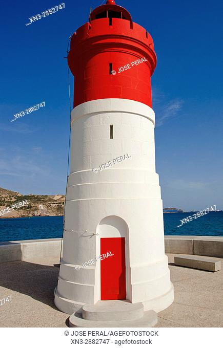 Red Lighthouse in the Dique de Navidad, Mediterranean Sea, Cartagena, Murcia Province, Spain