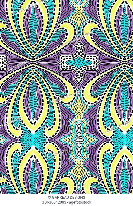 Purple, yellow and aqua line design