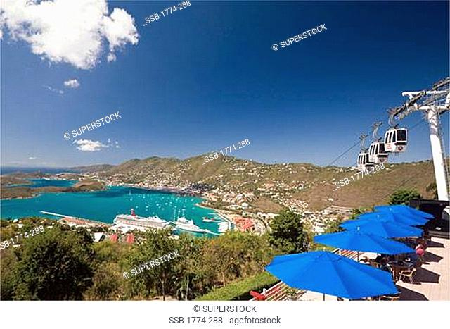 High angle view of a cityscape, Charlotte Amalie, St. Thomas, US Virgin Islands