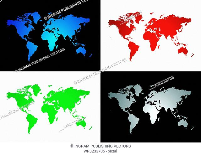 Four colourful map variations two on a black background