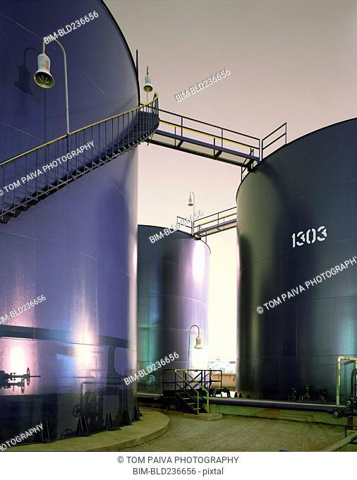 Blue storage tanks