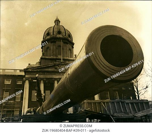 Apr. 04, 1968 - Huge Naval Gun Outside Imperial War Museum: View showing the huge 15-inch naval gun - one of the acquired by the Imperial War Museum - which are...