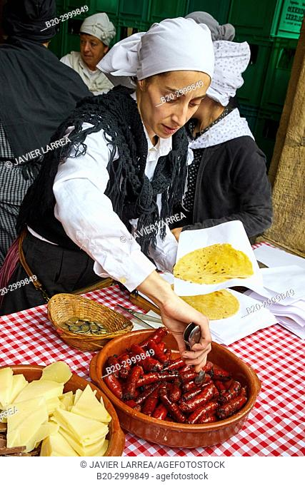Talos with txistorra, Elaboration of corn stalk, Feria de Santo Tomás, The feast of St. Thomas takes place on December 21