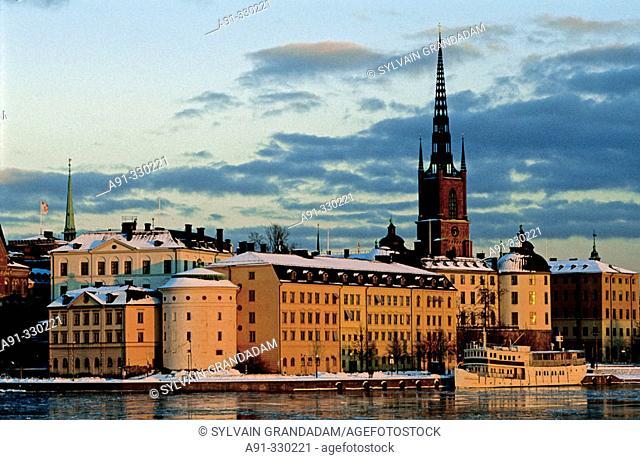 Riddarholmen and Gamla Stan (Old City). View from Kungsholmen city hall. Stockholm. Sweden