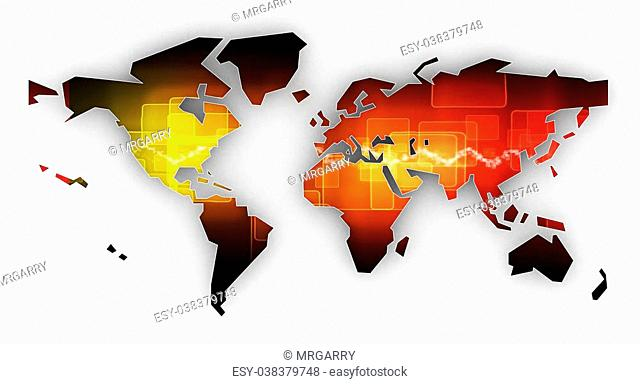 Picture a world map on a white background