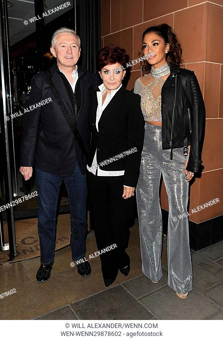 'X Factor' judges Nicole Scherzinger, Louis Walsh and Sharon Osbourne enjoy a late dinner at C restaurant in Mayfair, following the results of the live TV show