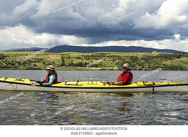 kayaking on Swan Lake, near Vernon, BC, Canada