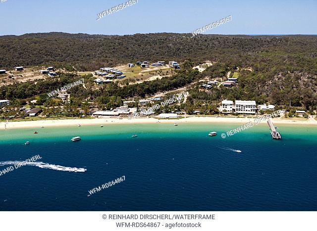 Aerial View of Tangalooma Beach, Moreton Island, Brisbane, Australia