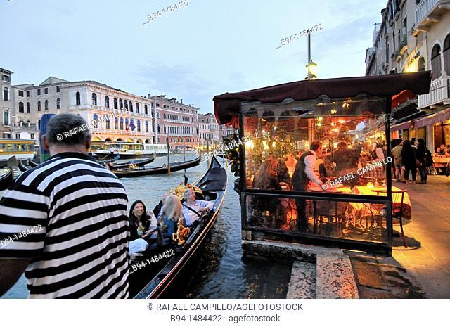 Grand Canal, restaurant in the area of the Rialto bridge, Venice, Veneto, Italy