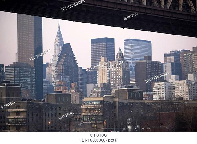 USA, New York State, New York City, part of queensboro bridge with manhattan in distance