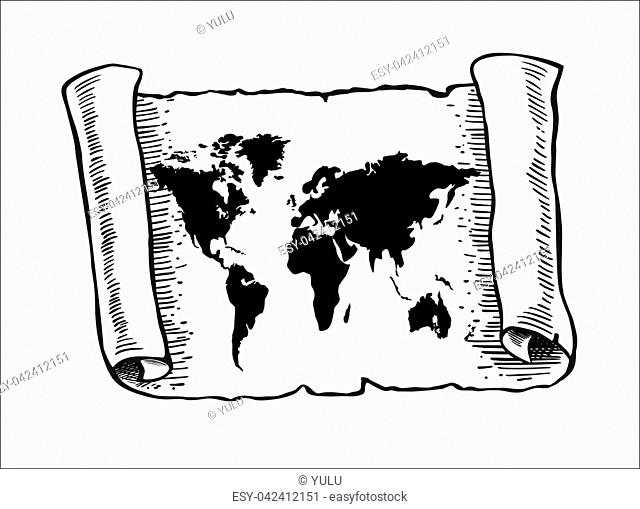 World map on old papyrus paper. Vector illustration. Sketch scroll isolated on white background. Horizontal location