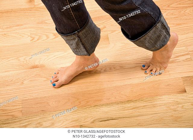 Middle-age woman's feet