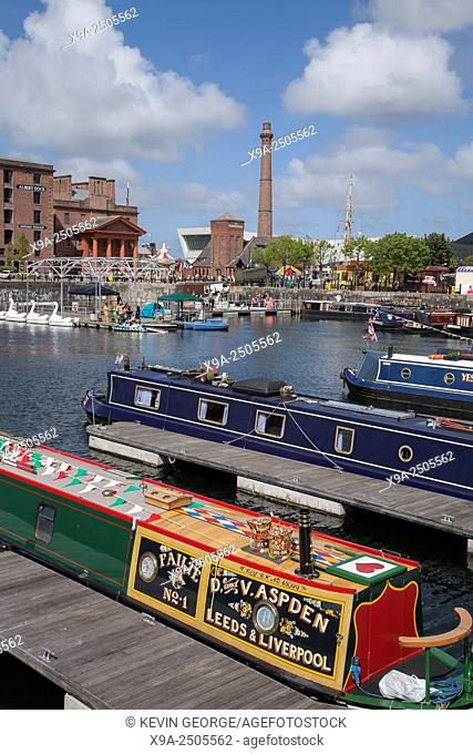 Canal Boats at Festival in Albert Dock; Liverpool; England; UK