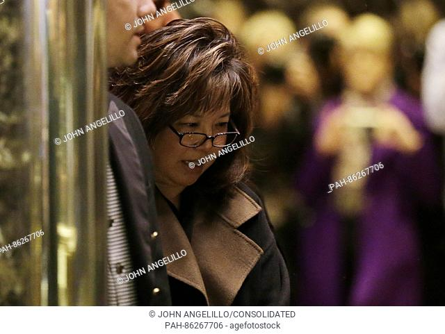 Former United States Attorney for the Central District of California Deborah Wong Yang stands in an elevator when he arrives at Trump Tower on December 5