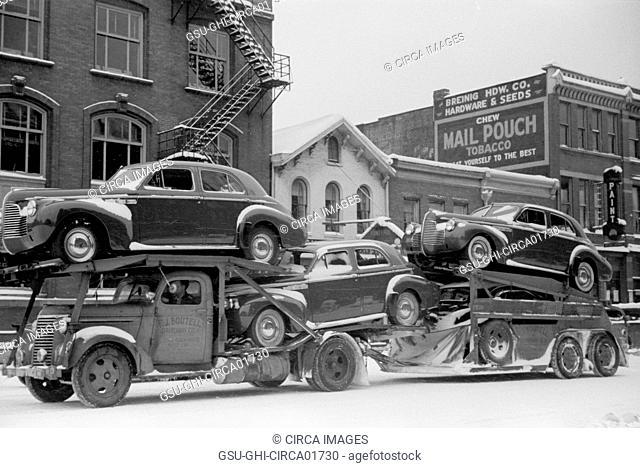 Auto Transport, Chillicothe, Ohio, USA, Arthur Rothstein for Farm Security Administration (FSA), February 1940