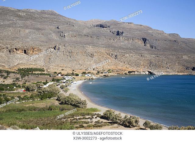 View of Kato Zakros and its beach, Crete island, Greece, Europe