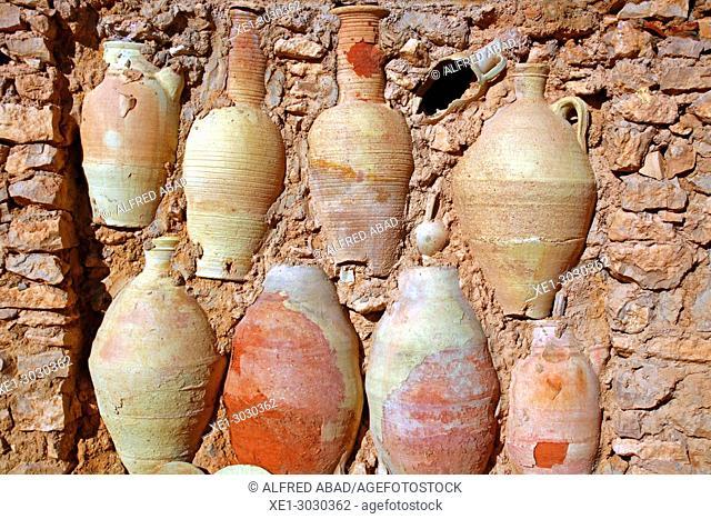 stone wall and ceramics, Djerba, Tunisia