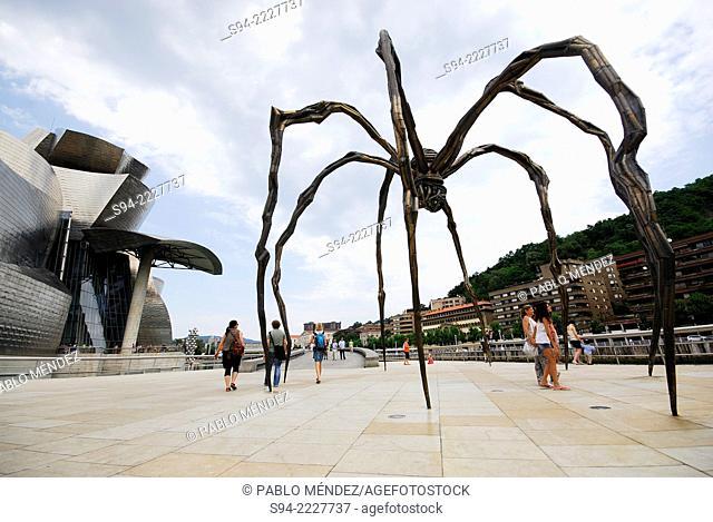 Modern sculpture like an arachnid in Guggenheim's museum, Bilbao, Spain