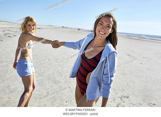 Two female friends on the beach